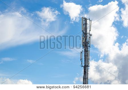 Antennas on mobile network tower. Global system for mobile communications.