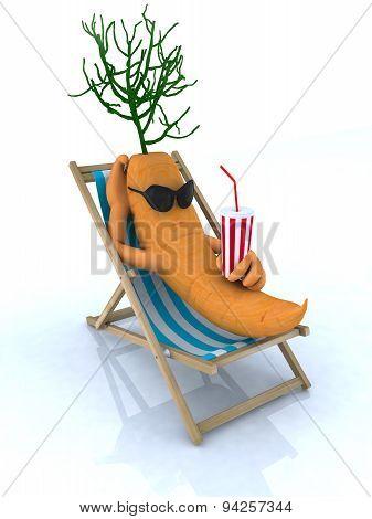 Carrot Resting On A Beach Chair