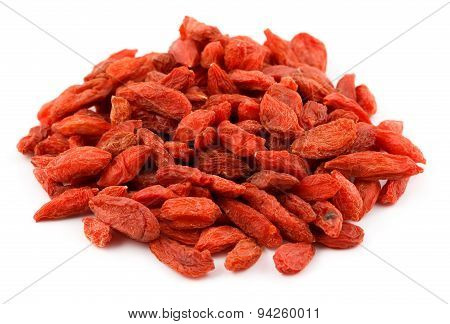 A pile of dried goji berries