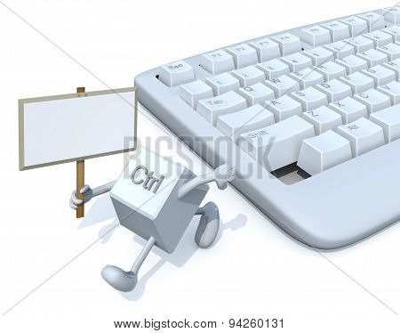 Ctrl Key With Banner Run Away From A Keyboard