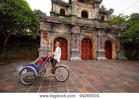 Pedicab At The Entrance Of Citadel, Hue, Vietnam