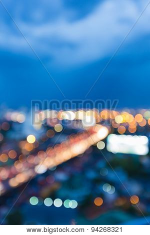 Abstract blur bokeh city highway light during twilight