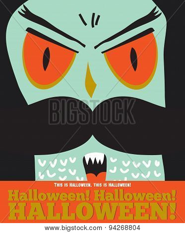 Bright trick or treat card in vector. Stylish halloween illustration with cute, funny, evil, fearsome monsters in cartoon style. Super monster. Happy Halloween party, kids. Eat, drink and be scary poster
