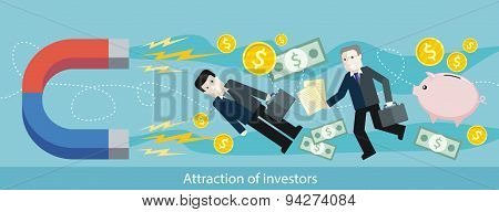 Attraction of Investors. Detailed Flat Web Banner