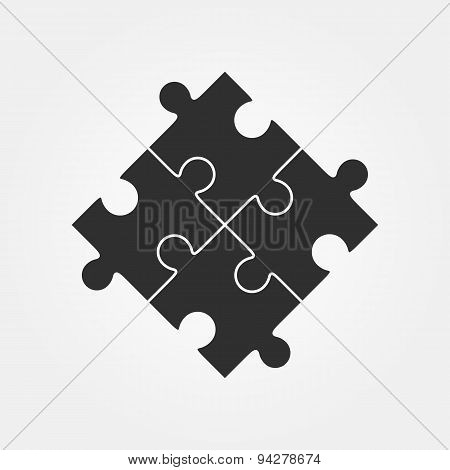 Vector illustration of four puzzle pieces