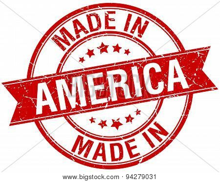 Made In America Red Round Vintage Stamp