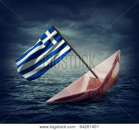 Sinking euro ship with a flag of Greece. Crisis concept.