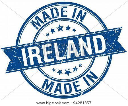 Made In Ireland Blue Round Vintage Stamp
