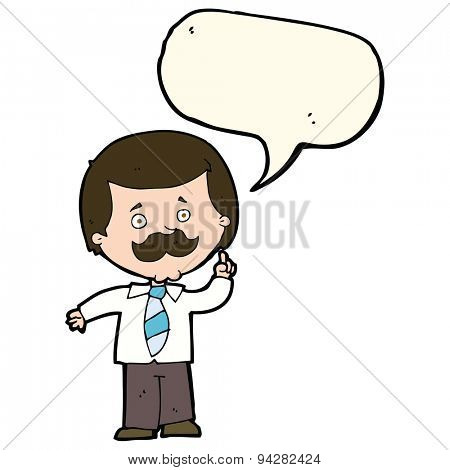 cartoon newsreader man with idea with speech bubble