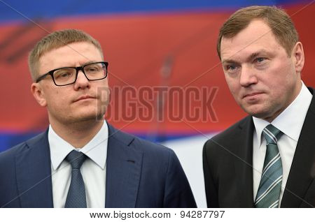 ST. PETERSBURG, RUSSIA - JUNE 20, 2015: Deputy Minister of enerty of Russia Alexey Teksler (left) and General director of JSC Rosseti Oleg Budargin during the presentation of the Federal Test Center