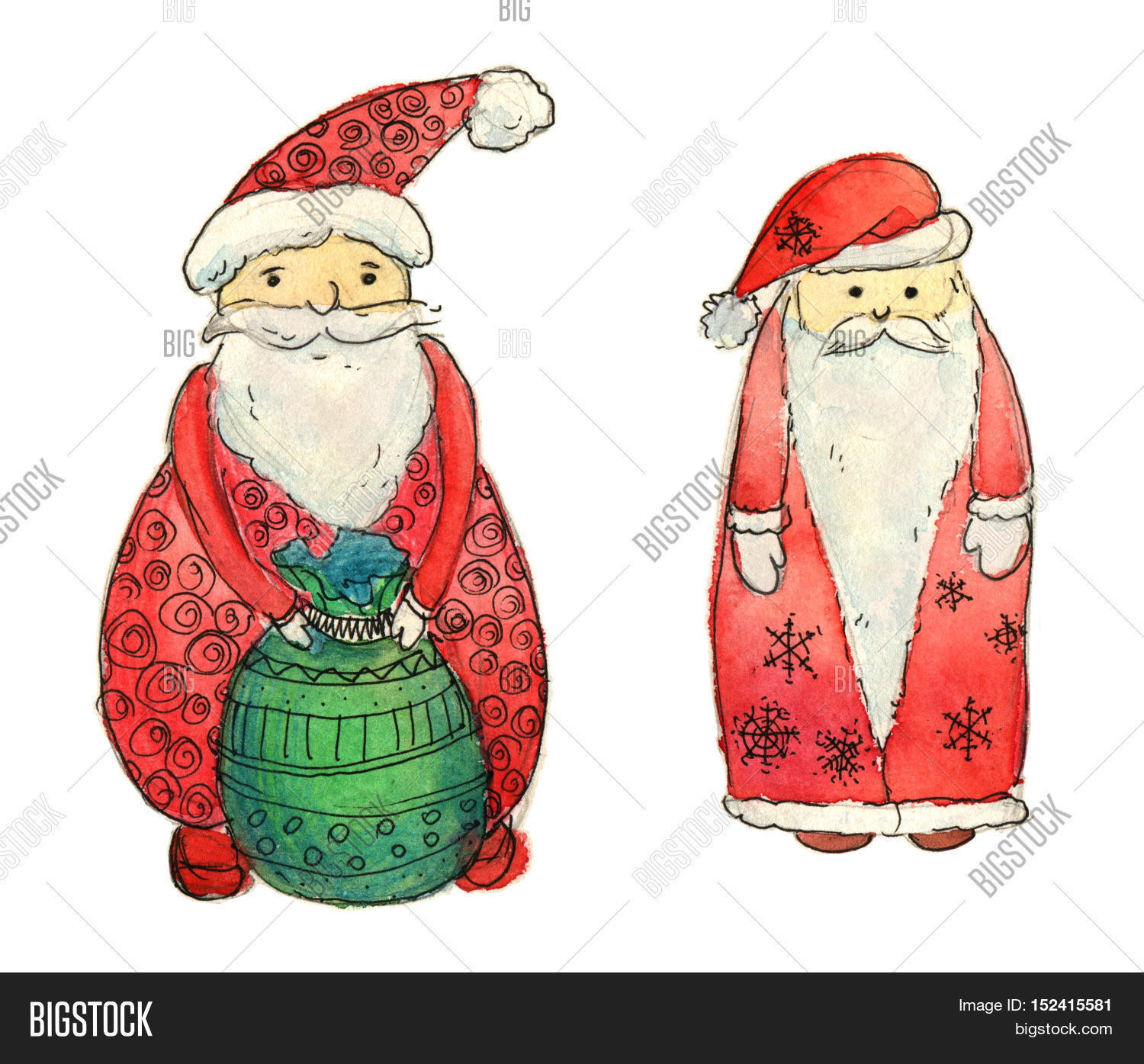 Set santa clause image photo free trial bigstock new year greeting card christmas watercolor background m4hsunfo