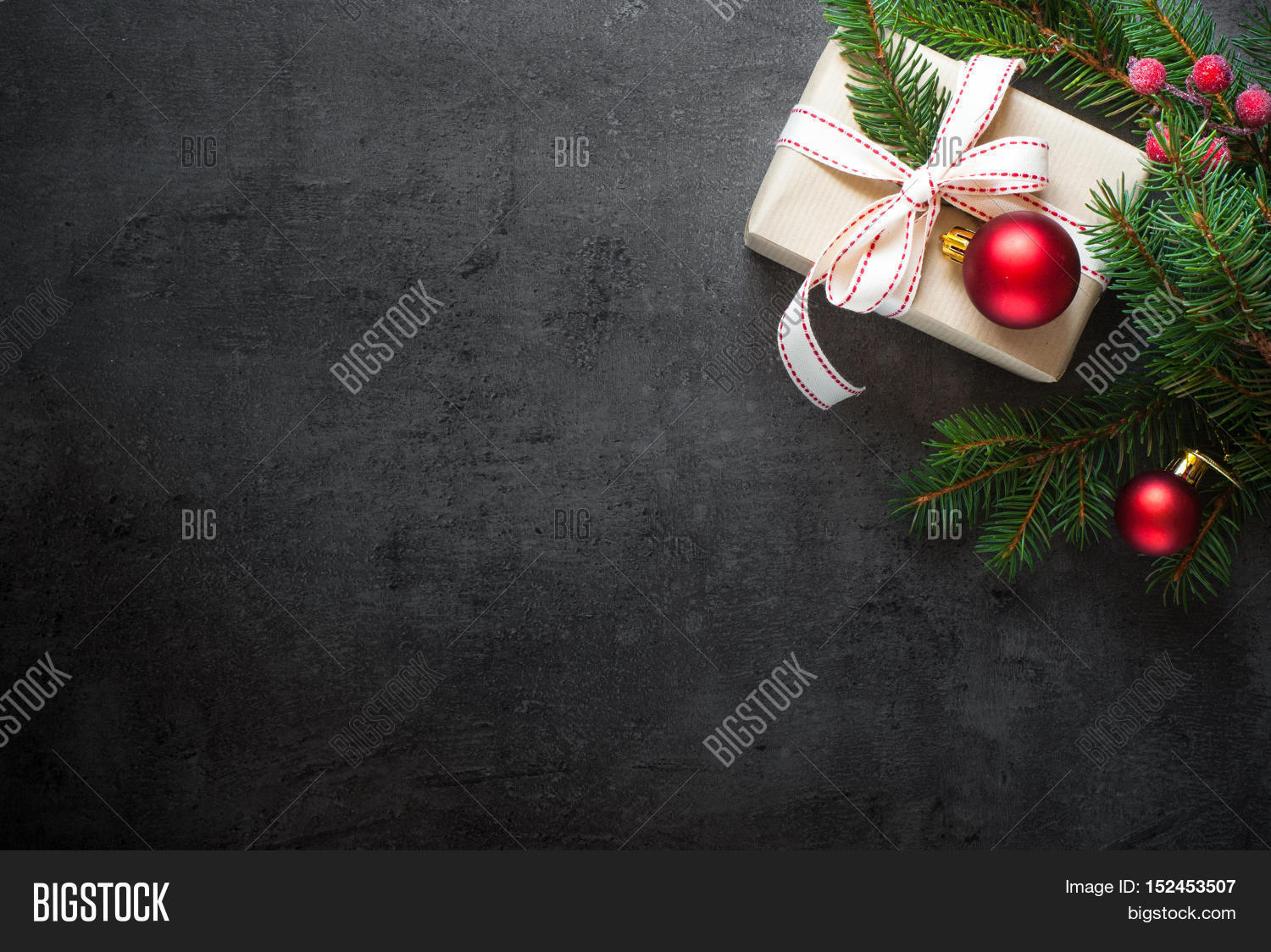 Christmas gift tree image photo free trial bigstock christmas gift tree branch and decorations on dark slate background christmas present background negle Choice Image