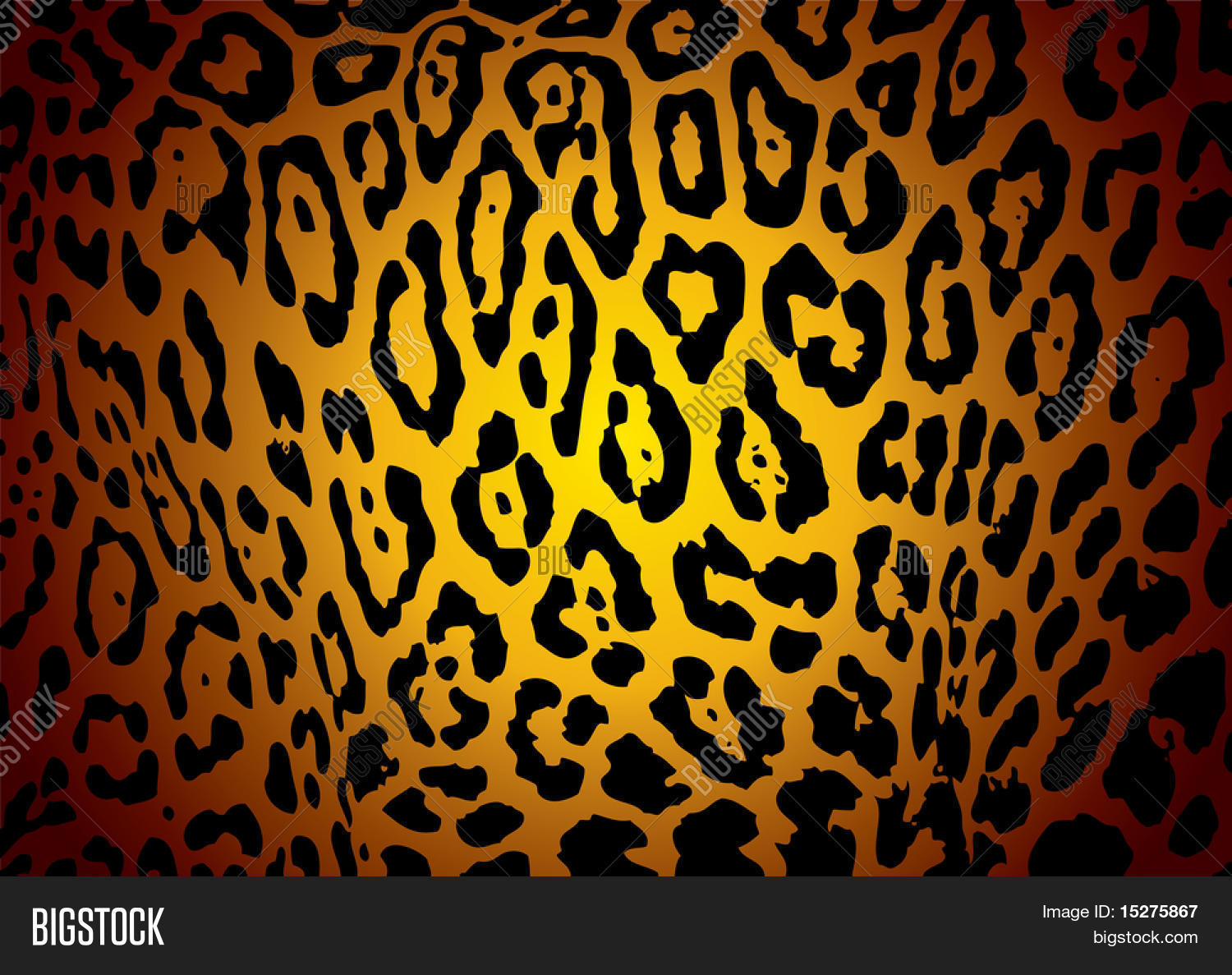 Illustrated Yellow And Black Jaguar Skin Background With Camouflage Effect