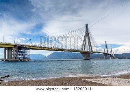 Amazing view of The cable bridge between Rio and Antirrio, Patra, Western Greece