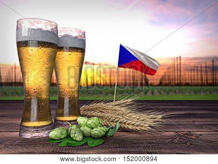 concept of beer consumption in Czech republic - 3D render