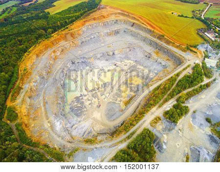 Camera flight over a open cast mine. Industrial landscape. Heavy industry from above.