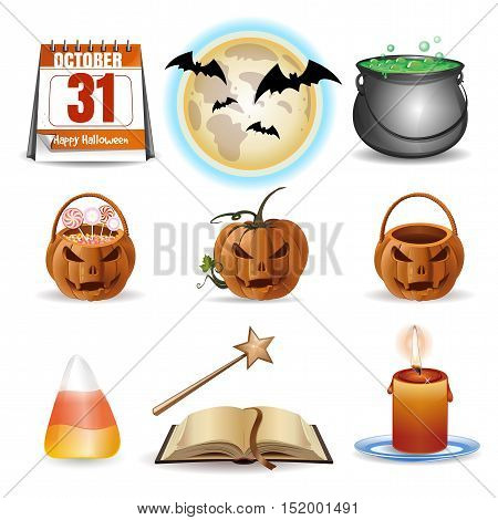 Halloween icons set. Vector colorful cartoon icons isolated on white background