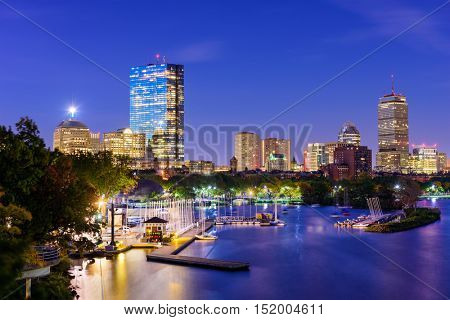 Boston, Massachusetts, USA skyline on the Charles River.
