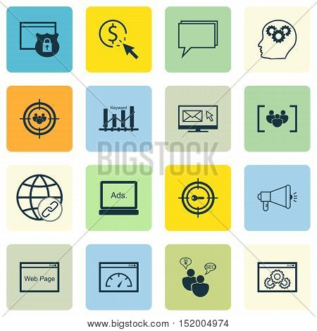 Set Of Advertising Icons On Questionnaire, Keyword Marketing, Loading Speed And Other Topics. Editab