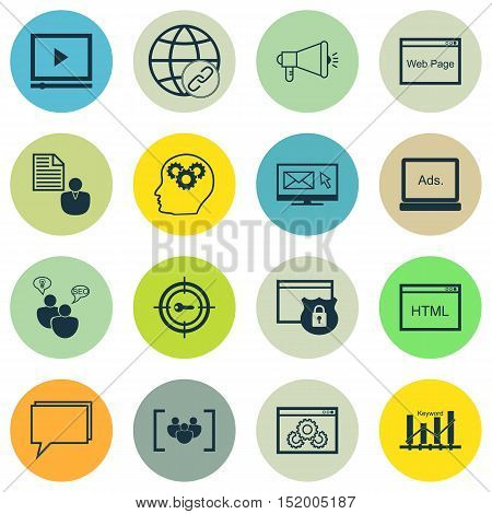 Set Of Marketing Icons On Newsletter, Security, Conference And Other Topics. Editable Vector Illustr