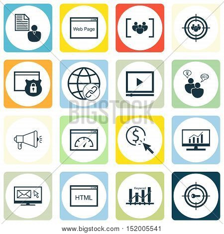 Set Of Advertising Icons On Newsletter, Market Research, Video Player And Other Topics. Editable Vec