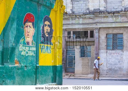 HAVANA CUBA - JULY 18 : Street view of the old town of Havana Cuba on July 18 2016. The historic center of Havana is UNESCO World Heritage Site since 1982.