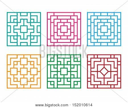 Chinese ornament for window and floor vector design