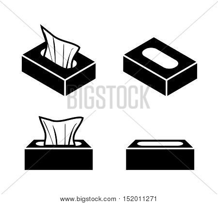 Tissue box icons in flat style vector object design