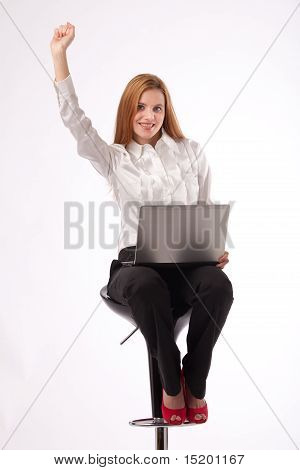 Businesswoman With Laptop Smiling
