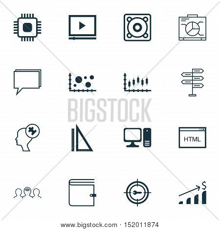 Set Of 16 Universal Editable Icons For Project Management, Seo And Statistics Topics. Includes Icons
