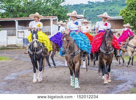 GUADALAJARA MEXICO - SEP 01 : Charras participate at the 23rd International Mariachi & Charros festival in Guadalajara Mexico on September 01 2016.