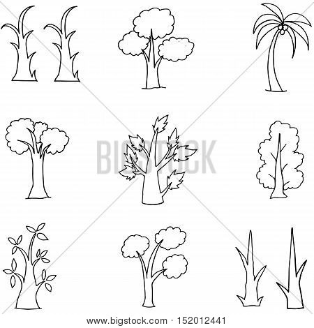 Doodle of hand draw tree set vector illustration