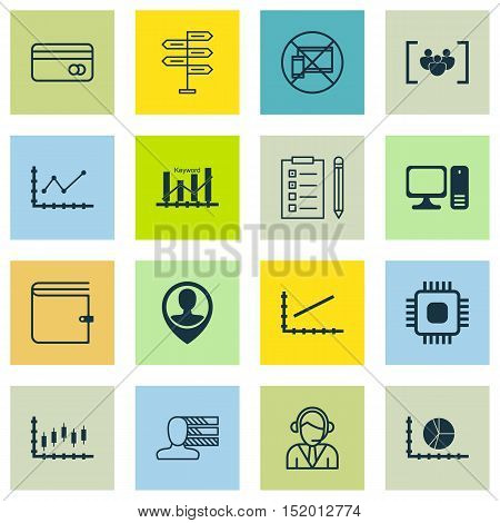 Set Of 16 Universal Editable Icons For Computer Hardware, Project Management And Statistics Topics.