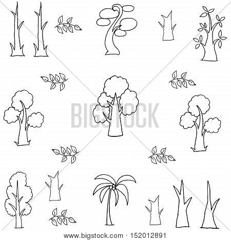 Doodle of tree and leaf hand draw vector art