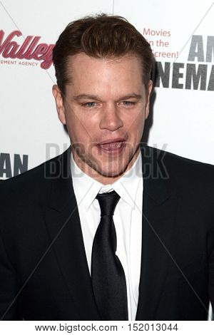 LOS ANGELES - OCT 14:  Matt Damon at the 2016 American Cinematheque Awards at Beverly Hilton Hotel on October 14, 2016 in Beverly Hills, CA
