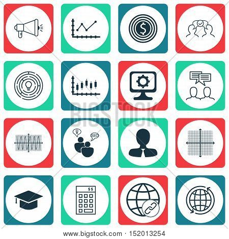 Set Of 16 Universal Editable Icons For Project Management, Airport And Seo Topics. Includes Icons Su