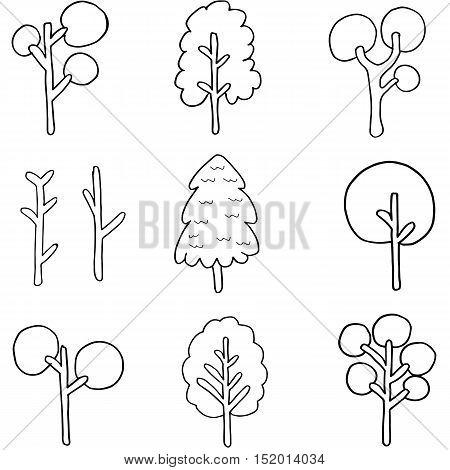 Doodle of simple tree set vector art