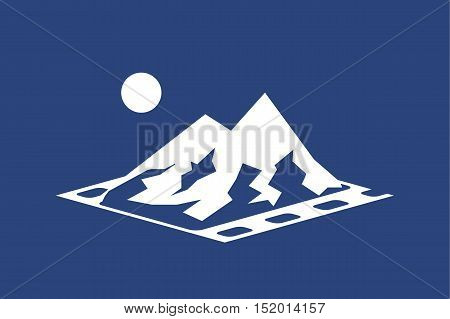 illustration of icon with mountains in frame on blue background