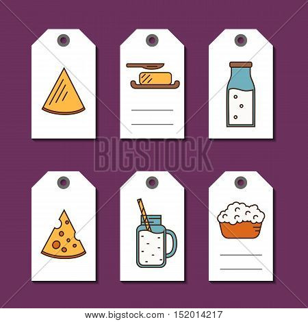 Price tags with dairy products icons in line style vector illustration. Natural and healthy food. Traditional farmers products. Organic shop labels. Organic farmers food. Organic food and dairy product concept. Milk product icon. Cartoon dairy product. Da