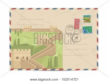 China vintage postal envelope with postage stamps and postmark vector illustration. Chinese Great Wall landmark. Chinese air mail stamp. Chinese postal services. Envelope delivery. Travel on China concept. Explore china. Greetings from China concept
