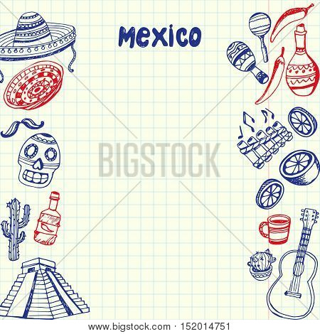 Mexican associated symbols. Mexican national and cultural related and sketches with pen Mexican ethnic elements. Latin America concept sketches and Mexican background sign. Mexican vector doodle. Mexican art. Sombrero, tequila, Mayan pyramid, guitar.