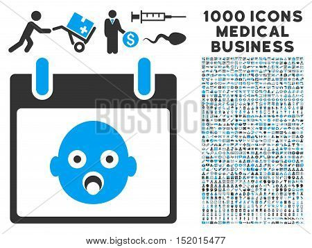 Blue And Gray Baby Head Calendar Day vector icon with 1000 medical business pictograms. Set style is flat bicolor symbols, blue and gray colors, white background.