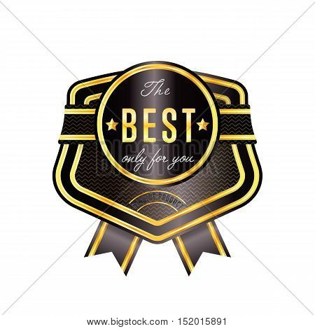 Gold and black badge vintage style isolated vector illustration