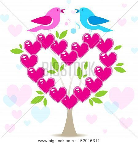 Love tree with two birds on white background Valentines day background with pink heart leaves