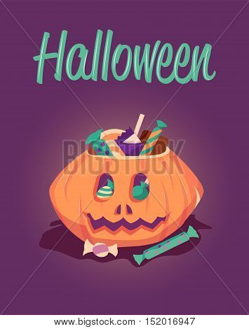 Happy Halloween greeting card. Halloween vector poster illustration. Holiday pumpkin with candy.