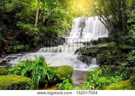 Mun Dang Waterfall in deep forest fresh green rain season in Thailand