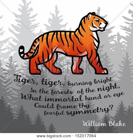 Bengal Tiger in forest poster design. Double exposure vector template. Old poem illustration on foggy background