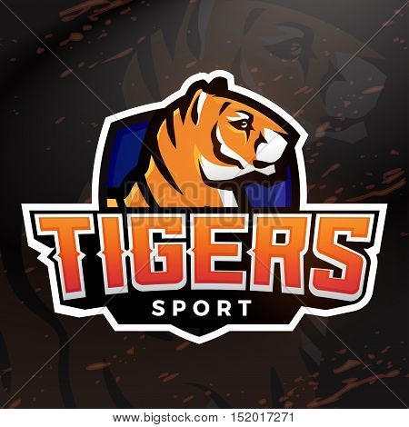 Tiger shield sport mascot template. Premade football, basketball or baseball patch design. College league insignia, High school team vector.