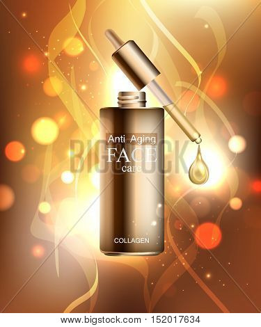 Anti age cream for face skin care with collagen serum. Cosmetic background with bottle, pipette and glitter droplet. Vector illustration EPS 10 format