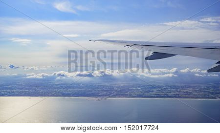 Great Aerial landscape view of Japan with an airplane